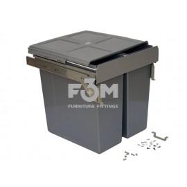 Система для отходов: 3 ведра(2×17 л+1×34 л) направляющие полного выдвижения с доводчиком+ крепление к фасаду, 495×500×465 мм, MOVIMENTO, 1364, Системы ведер