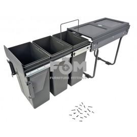 Система для отходов: 3 ведра×10 л, на НАПРАВЛЯЮЩИХ ПОЛНОГО ВЫДВИЖЕНИЯ, с ДОВОДЧИКОМ+ КРЕПЛЕНИЕМ  к ФАСАДУ, MOVIMENTO, 3020, Системы ведер