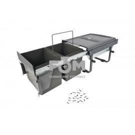 Система для отходов: 2 ведра×15 л, НА  НАПРАВЛЯЮЩИХ  скрытого монтажа, с ДОВОДЧИКОМ + КРЕПЛЕНИЕМ  к ФАСАДУ, MOVIMENTO, 3021, Системы ведер