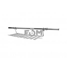 Рейлинг Ø 16 мм: Комплект -  Полка для Бокалов Большая, с Кронштейнами, Заглушками и Трубой L=600 мм, Хром, F3M