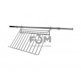 Рейлинг Ø 16 мм: Комплект - Полка / Подставка для Крышек от Кастрюль Малая, с Кронштейнами, Заглушками и Трубой L=600 мм, Хром, F3M