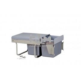 Система для отходов: 2 ведра×15 л, направляющие полного выдвижения  с доводчиком+ крепление к фасаду, 320×480×340 мм, MOVIMENTO, 611, Системы ведер