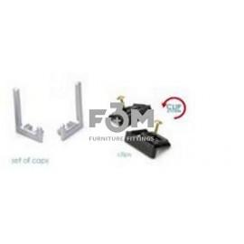 Комплект: 2 Монтажные пластины с саморезами + 2 Заглушки для Ручки-профиля Syma 32, CLIP-ON: Алюминий, Rincomatic, 1265, Ручки мебельные