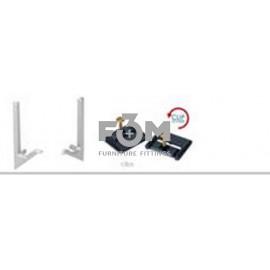 Комплект: 2 Монтажные пластины с саморезами + 2 Заглушки для Ручки-профиля Syma 32 Inglete, CLIP-ON: Алюминий, Rincomatic, 1267, Ручки мебельные