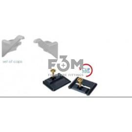 Комплект: 2 Монтажные пластины с саморезами + 2 Заглушки для Ручки-профиля Syma Inglete 2, CLIP-ON: Алюминий, Rincomatic, 1724, Ручки мебельные