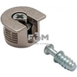 Стяжка RFX: для ДСП 16 мм, штифт 9,0×11,5 мм+корпус стальной Ø 20 мм, H=12 мм, никель, F3M, 264, Стяжки